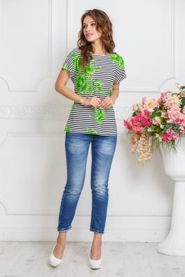 Туника с зел.цветами